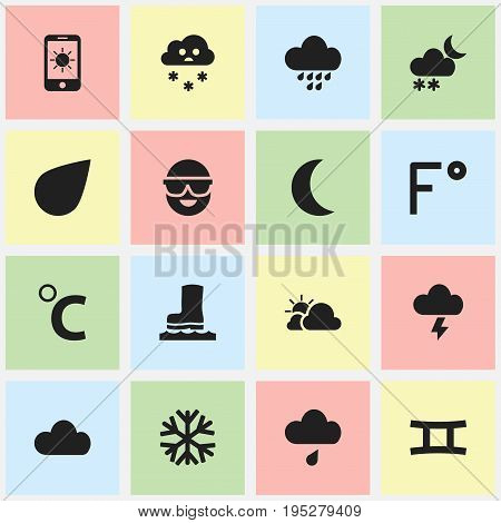 Set Of 16 Editable Weather Icons. Includes Symbols Such As Frostbite, Sky, Drip And More. Can Be Used For Web, Mobile, UI And Infographic Design.