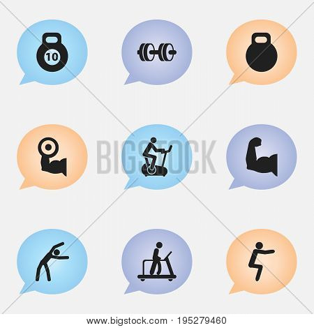 Set Of 9 Editable Exercise Icons. Includes Symbols Such As Executing Running, Weightiness, Heavy Training And More. Can Be Used For Web, Mobile, UI And Infographic Design.