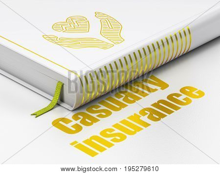 Insurance concept: closed book with Gold Heart And Palm icon and text Casualty Insurance on floor, white background, 3D rendering