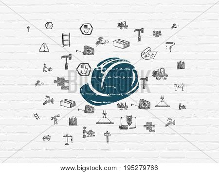 Building construction concept: Painted blue Safety Helmet icon on White Brick wall background with  Hand Drawn Building Icons