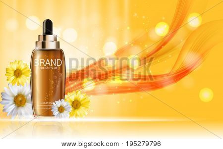 Design Cosmetics Skin Toner Product Bottle with Flowers Chamomile Template for Ads, Announcement Sale, Promotion New Product or Magazine Background. 3D Realistic Vector Iillustration. EPS10