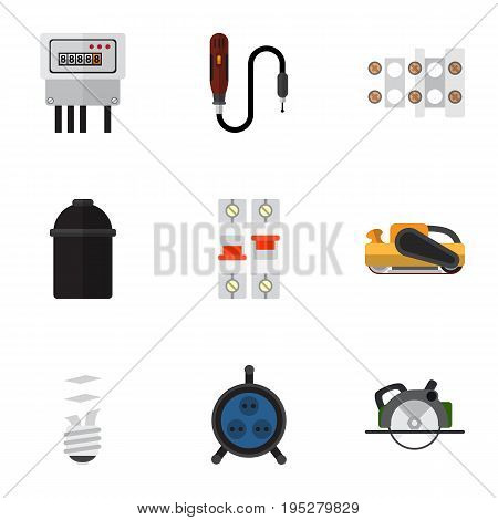 Set Of 9 Editable Electric Icons. Includes Symbols Such As Breaker, Sandblast, Electric. Can Be Used For Web, Mobile, UI And Infographic Design.