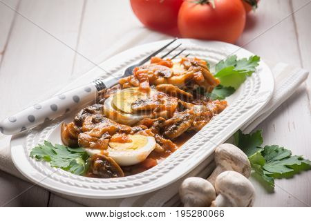 boiled eggs with mushroom, selective focus