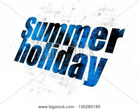 Tourism concept: Pixelated blue text Summer Holiday on Digital background