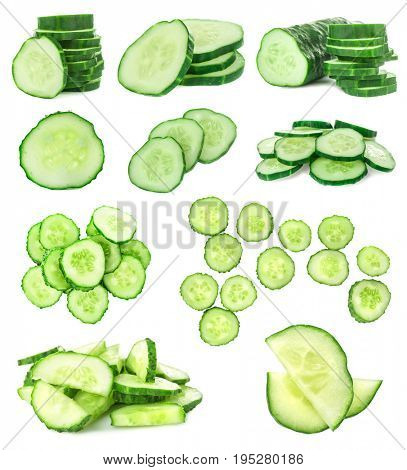 Collage of fresh cucumbers on white background