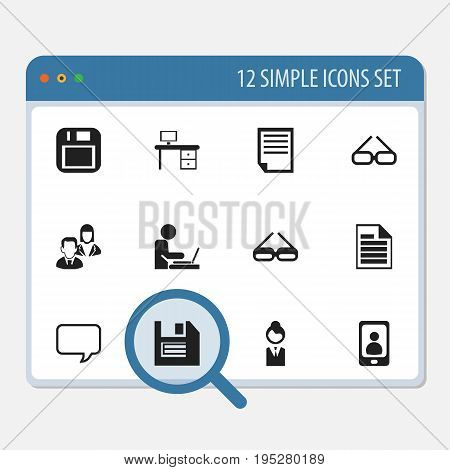 Set Of 12 Editable Bureau Icons. Includes Symbols Such As Office Desk, Floppy Disk, Telephone And More. Can Be Used For Web, Mobile, UI And Infographic Design.