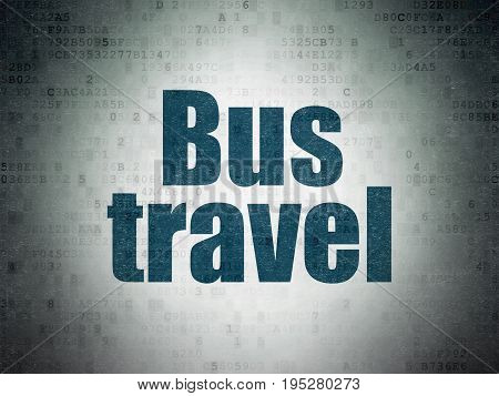 Tourism concept: Painted blue word Bus Travel on Digital Data Paper background