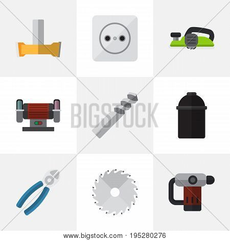 Set Of 9 Editable Electric Icons. Includes Symbols Such As Holder, Orifice, Pound And More. Can Be Used For Web, Mobile, UI And Infographic Design.