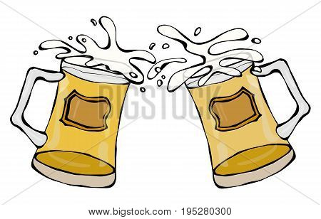 Two Beer Mugs With Light Ale or Lager. Clink with Splash. Realistic Doodle Cartoon Style Hand Drawn Sketch Vector Illustration.Isolated On a White Background.