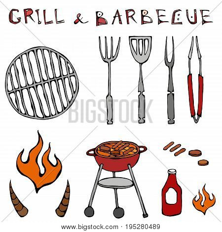Set of Barbecue Tools: BBQ Fork, Tongs, Grill with Meat, Fire, Ketchup, Bull Horns. Realistic Doodle Cartoon Style Hand Drawn Sketch Vector Illustration.Isolated On a White Background.
