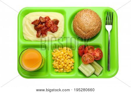 Serving tray with delicious food on white background. Concept of school lunch