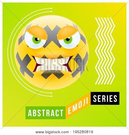 Abstract Cute Angry Emoji With Big Eyes