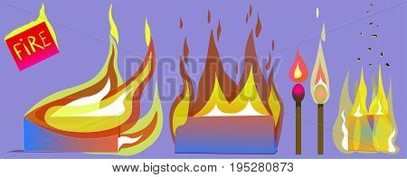 The image of burning objects with different flames. One object blazes with a side. Two more objects are burning on all sides. The rest are matches. A flame is raised over one match. The second match is enveloped in flames.