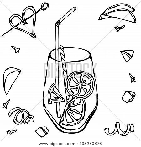 Glass of Lemonade with Lemon Slice and Cocktail Stew. Isolated On a White Background. Realistic Doodle Cartoon Style Hand Drawn Sketch Vector Illustration.