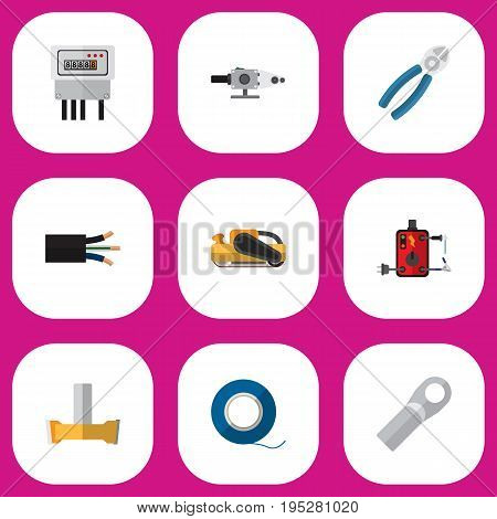Set Of 9 Editable Electrical Icons. Includes Symbols Such As Nipper, Wire, Blowpipe And More. Can Be Used For Web, Mobile, UI And Infographic Design.