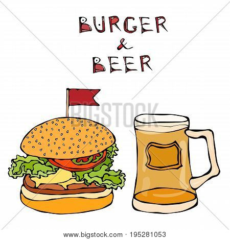 Big Hamburger or Cheeseburger and Beer Mug or Pint. Burger Lettering. Realistic Doodle Cartoon Style Hand Drawn Sketch Vector Illustration.Isolated On a White Background.