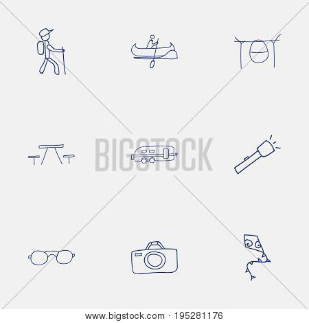 Set Of 9 Editable Trip Icons. Includes Symbols Such As Boat, Eyeglasses, Photographing And More. Can Be Used For Web, Mobile, UI And Infographic Design.