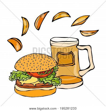 Big Hamburger or Cheeseburger, Beer Mug or Pint and Potato Wedges. Burger Logo. Realistic Doodle Cartoon Style Hand Drawn Sketch Vector Illustration.Isolated On a White Background.