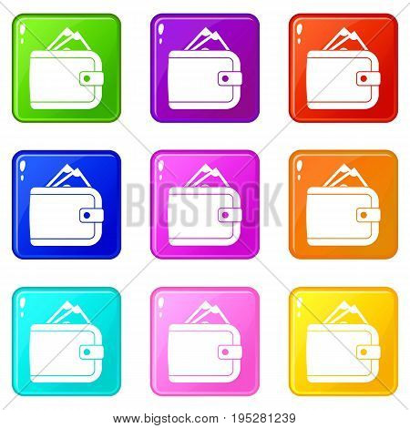Purse with money icons of 9 color set isolated vector illustration