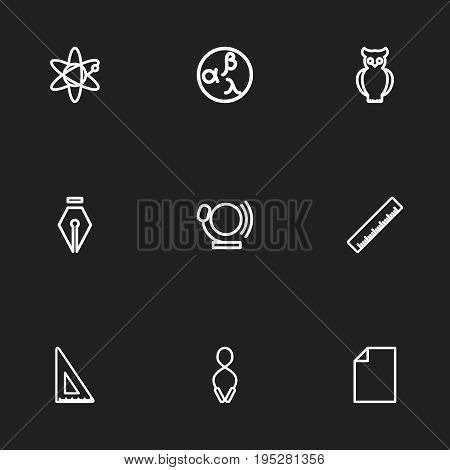Set Of 9 Editable Teach Icons. Includes Symbols Such As Garland, Bell, Straightedge. Can Be Used For Web, Mobile, UI And Infographic Design.