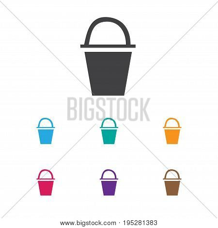Vector Illustration Of Travel Symbol On Bucket Icon. Premium Quality Isolated Pail Element In Trendy Flat Style.