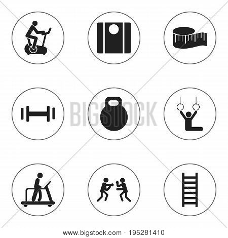 Set Of 9 Editable Sport Icons. Includes Symbols Such As Acrobat, Executing Running, Stairway And More. Can Be Used For Web, Mobile, UI And Infographic Design.