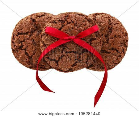 Chocolate cookies with red bow isolated on white background