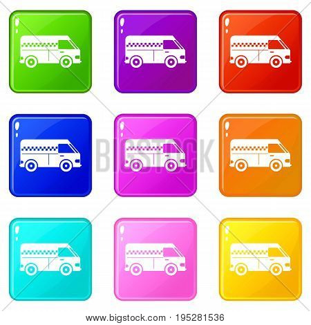 Minibus taxi icons of 9 color set isolated vector illustration