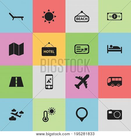 Set Of 16 Editable Journey Icons. Includes Symbols Such As Solar, Plage, Pamphlet And More. Can Be Used For Web, Mobile, UI And Infographic Design.