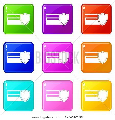 Credit card and shield icons of 9 color set isolated vector illustration