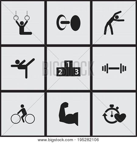 Set Of 9 Editable Exercise Icons. Includes Symbols Such As Acrobat, Platform For Winner, Crossbar And More. Can Be Used For Web, Mobile, UI And Infographic Design.