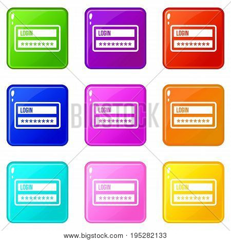 Login and password icons of 9 color set isolated vector illustration