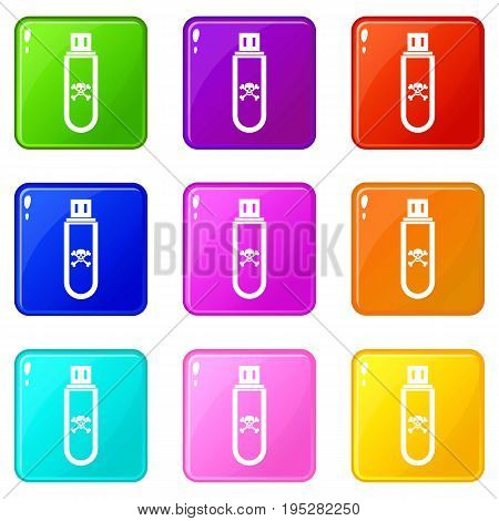Infected USB flash drive icons of 9 color set isolated vector illustration