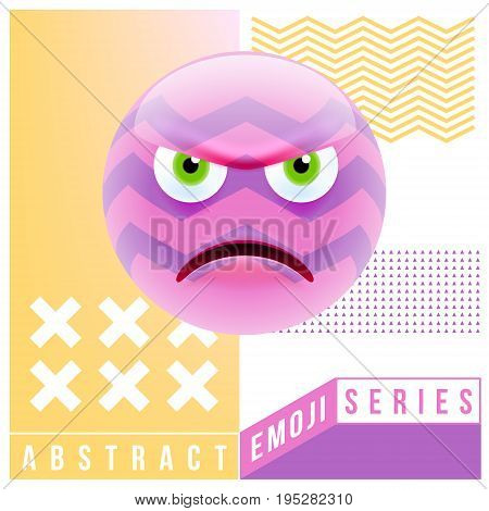 Abstract Cute Angry Emoji. Abstract Emoji Series