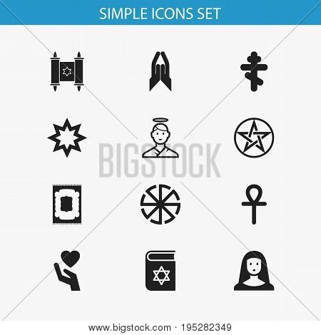 Set Of 12 Editable Faith Icons. Includes Symbols Such As Pentagram, Cherub, David Star And More. Can Be Used For Web, Mobile, UI And Infographic Design.
