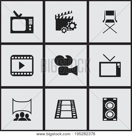 Set Of 9 Editable Movie Icons. Includes Symbols Such As Camcorder, Camera Strip, Retro Television And More. Can Be Used For Web, Mobile, UI And Infographic Design.