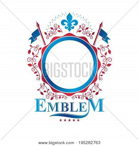 Graphic emblem composed with royal symbol Lily Flower decorative ribbon and flags. Heraldic vector design element. Retro style label heraldry logo.