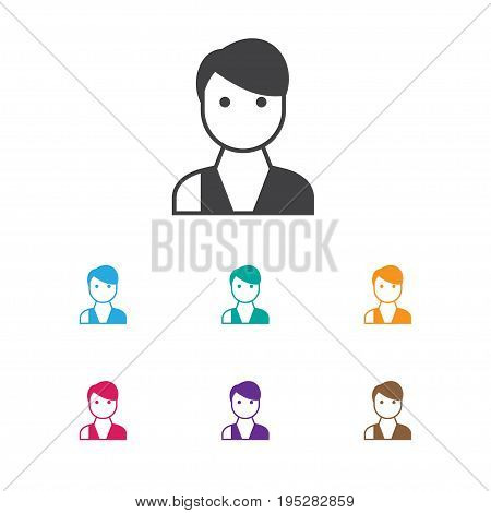 Vector Illustration Of Business Symbol On Vendor Icon. Premium Quality Isolated Trader Element In Trendy Flat Style.