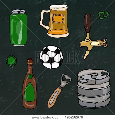 Set of Beer Objects: Can and Key, Mug, Tap, Bottle, Football Ball, Opener, Keg. Realistic Doodle Cartoon Style Hand Drawn Sketch Vector Illustration.Isolated on a Black Chalkboard Background.