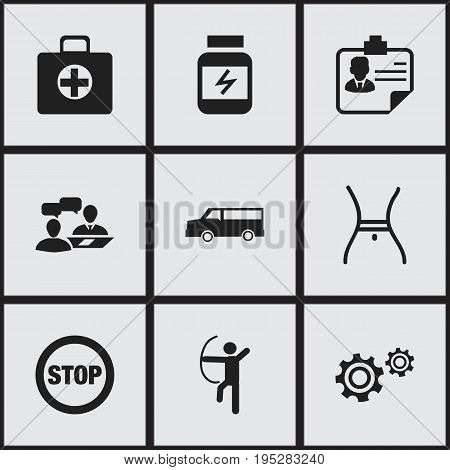 Set Of 9 Editable Complex Icons. Includes Symbols Such As First Aid Box, Bowman, Protein And More. Can Be Used For Web, Mobile, UI And Infographic Design.