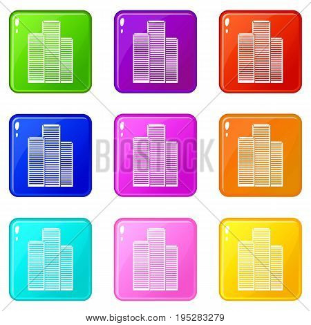 Skyscrapers in Singapore icons of 9 color set isolated vector illustration