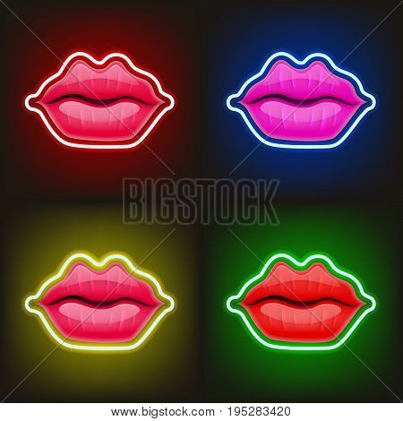 Light Sign Of Neon Lips