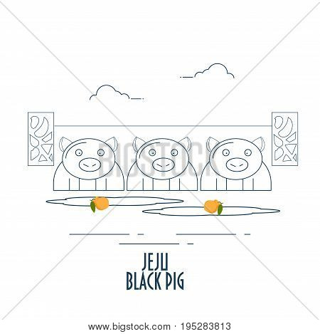 Cartoon Line art illustration of three Jeju Black pigs. Jeju Black pig is a breed of domestic pig found on the Jeju-do island South Korea known for its unique taste distinct from other breeds of pig