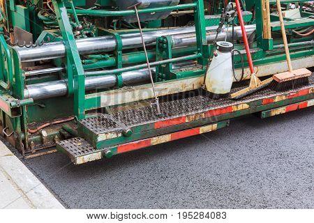 Roller Compactor On Fresh Asphalt Road