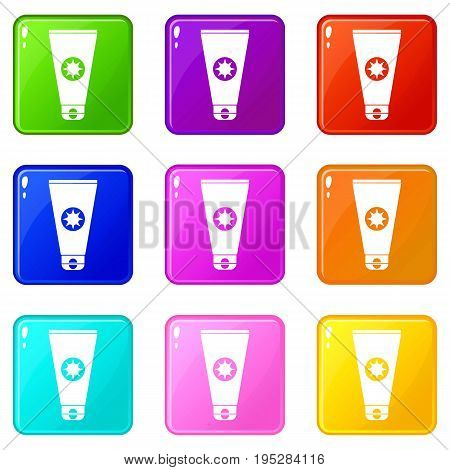 Tube with sunbathing cream icons of 9 color set isolated vector illustration