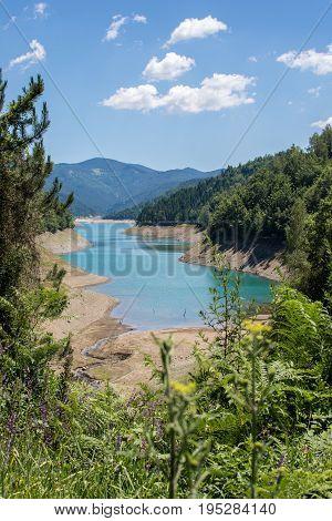Beautiful Lake Zaovine In Tara Mountain Panoramic View