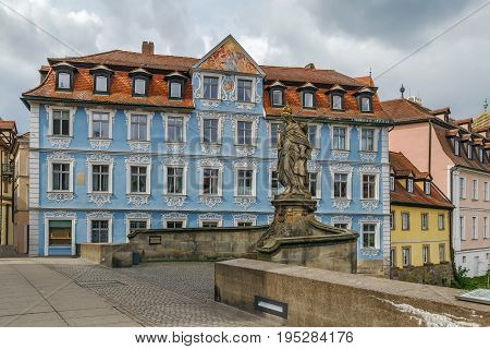 Untere Brucke (Lower bridge) with Statue of St. Cunigunde Bamberg Germany