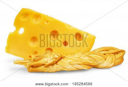 Piece of cheese isolated on white Clipping, Closeup, Single, Shot, Studio, Fresh, Close,