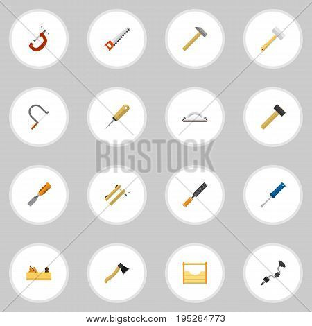 Set Of 16 Editable Tools Icons. Includes Symbols Such As Jointer, Axe, Malleus And More. Can Be Used For Web, Mobile, UI And Infographic Design.