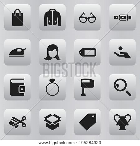 Set Of 16 Editable Business Icons. Includes Symbols Such As Billfold, Amphora, Lady Aspect And More. Can Be Used For Web, Mobile, UI And Infographic Design.
